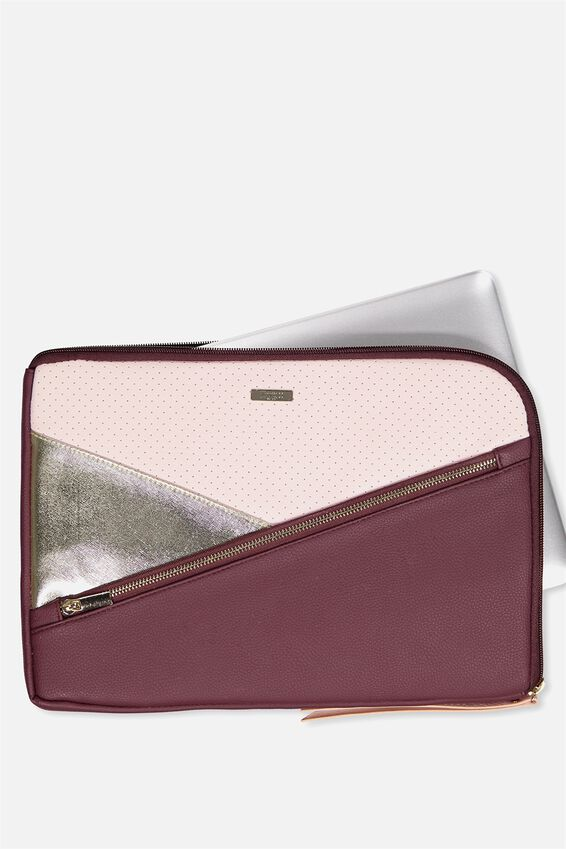 "Premium Laptop Case 13"", BURGUNDY & BLUSH"