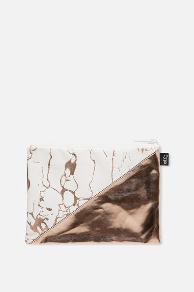 Riley Pencil Case, WHITE & GOLD MARBLE