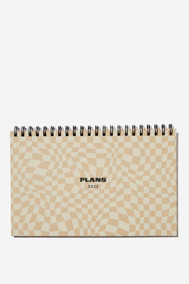 2022 Wide Desk Calendar, WARPED CHECKERBOARD DRIFTWOOD
