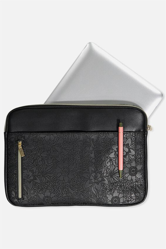"""Take Charge Laptop Cover 13"""", BLACK TOOLED"""