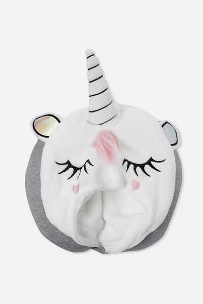 Hooded Travel Neck Pillow, GREY MARLE UNICORN