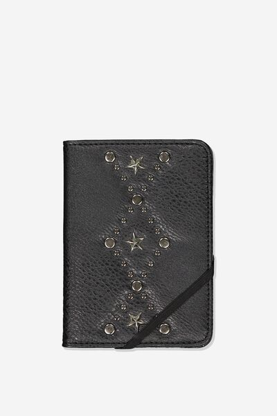 Rfid Passport Holder, BLACK W STAR DETAIL