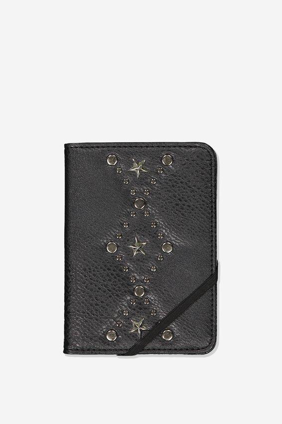 Rfid Passport Holder, BLACK W STAR DETAIL