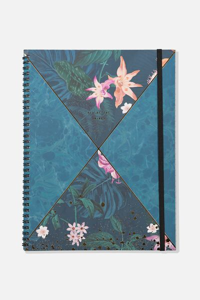 A4 Spinout Notebook - 120 Pages, JUNGLE FLORAL SPLICE