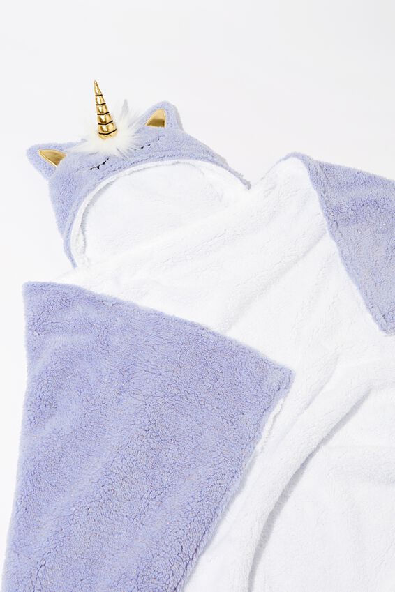 Novelty Hooded Blanket, LILAC UNICORN