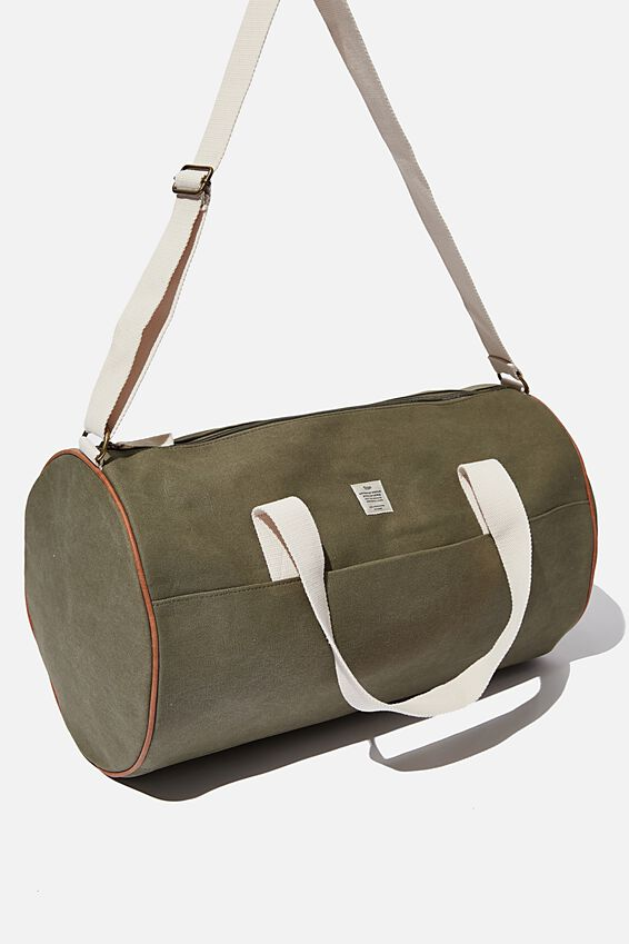 Canvas Barrel Bag, WASHED KHAKI