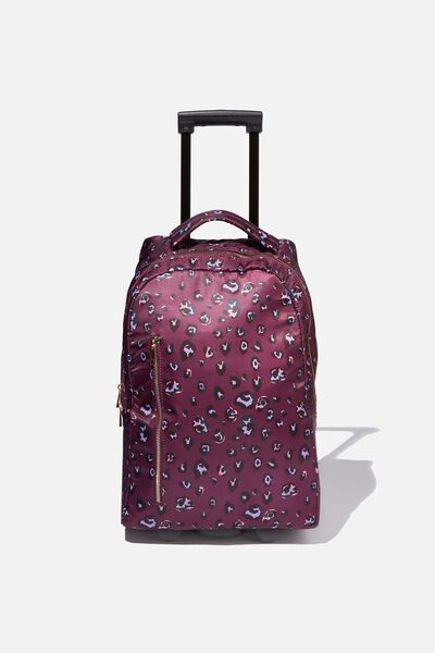 Soft Shell Suitcase, BURGUNDY LEOPARD
