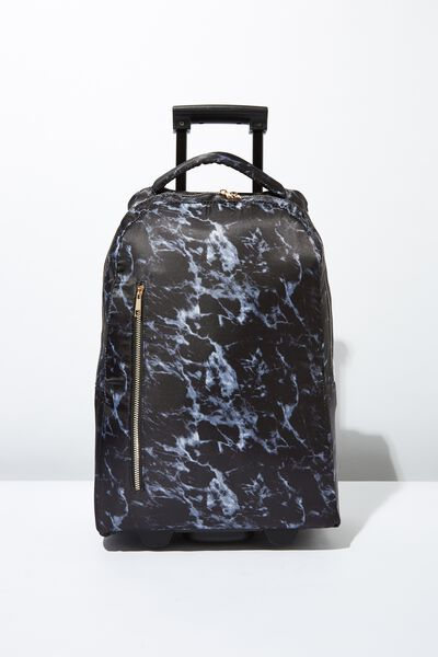 Soft Shell Suitcase, BLACK MARBLE