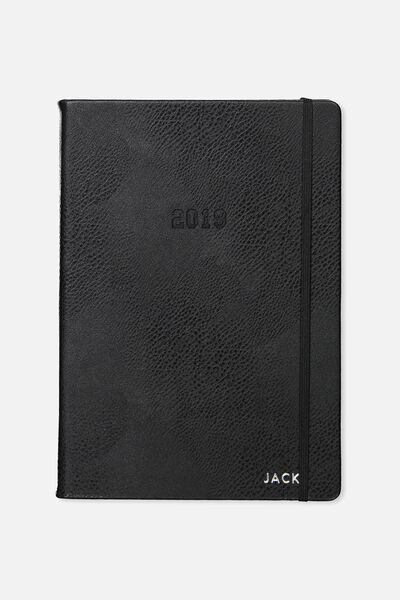 Personalised 2019 A4 Weekly Buffalo Diary, BLACK