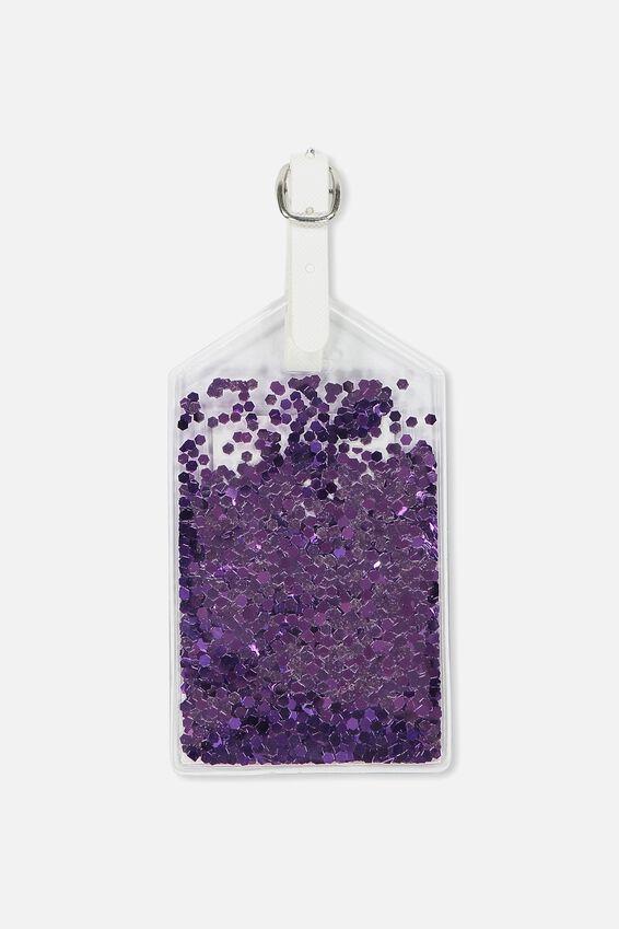 Glitter Filled Luggage Tag, LILAC GLITTER