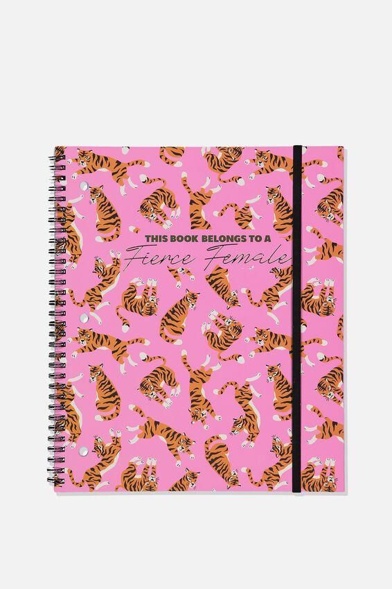 College Ruled Spinout Notebook V, FIERCE FEMALE