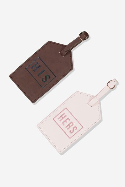 2Pce Luggage Tag Set, HIS & HERS