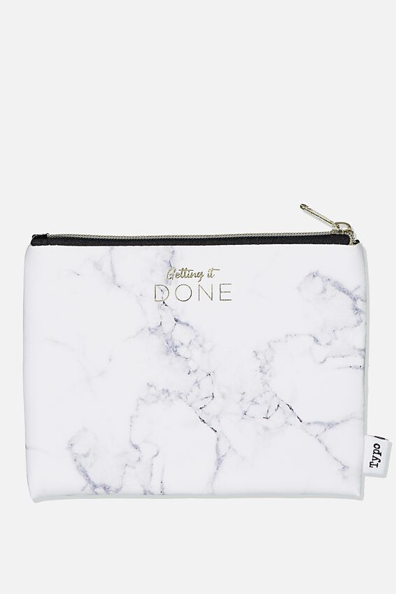Pu Campus Pencil Case, MARBLE GREY