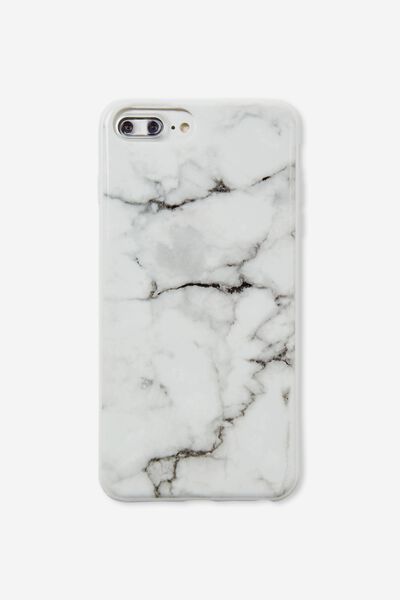 Printed Phone Cover 6 7 8 Plus, WHITE MARBLE