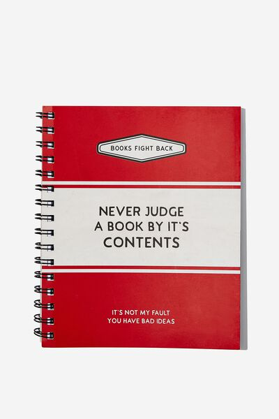 A5 Campus Notebook, NEVER JUDGE A BOOK BY ITS COVER