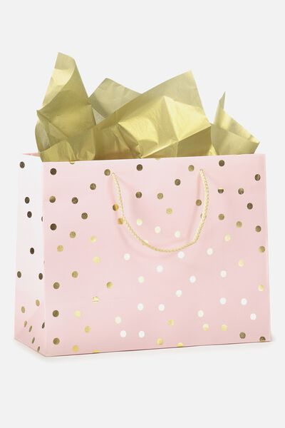 Medium Gift Bag with Tissue Paper, PEACH GOLD POLKA