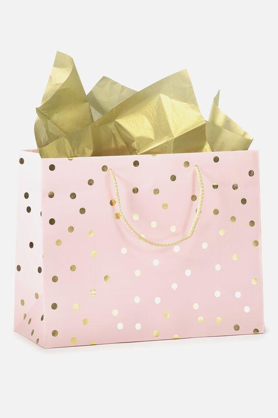 Medium Gift Bag with Tissue Paper, PEACH GOLD POLKA