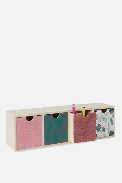 Quick Desk Drawer Storage, CACTUS GLITTER