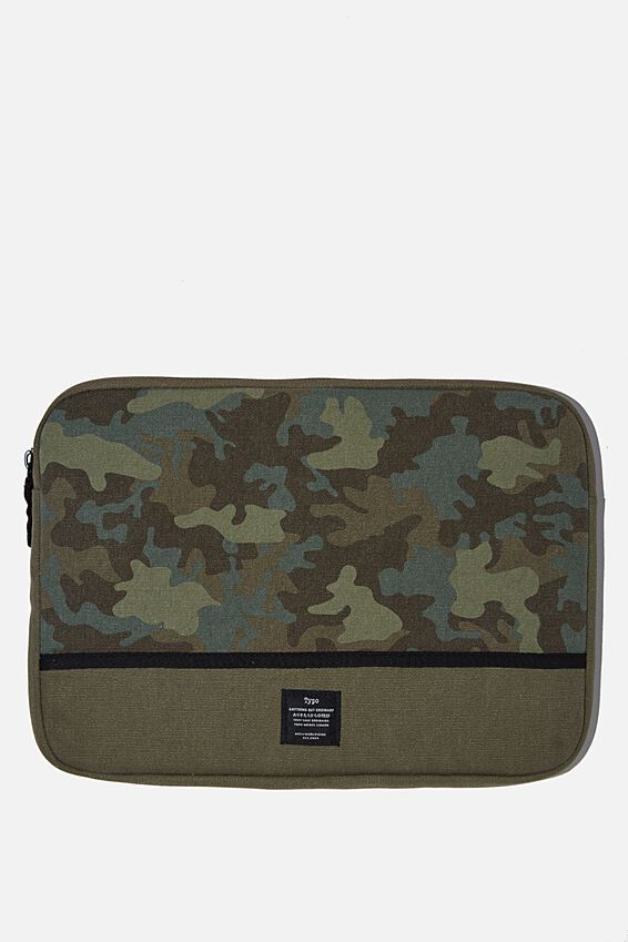 Canvas 13 Inch Laptop Case, CAMO WITH KHAKI SPLICE