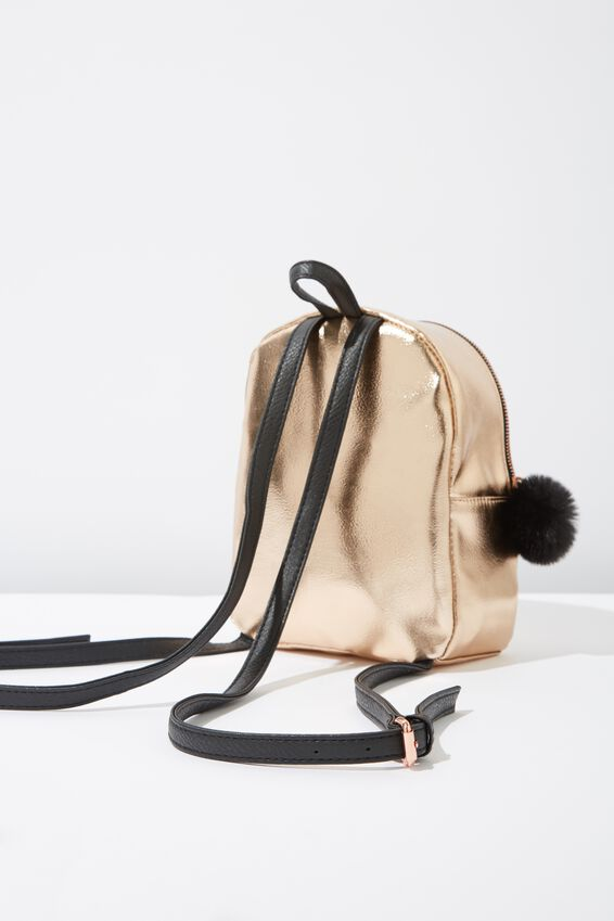 Mini Cairo Backpack, ROSE GOLD POM POM