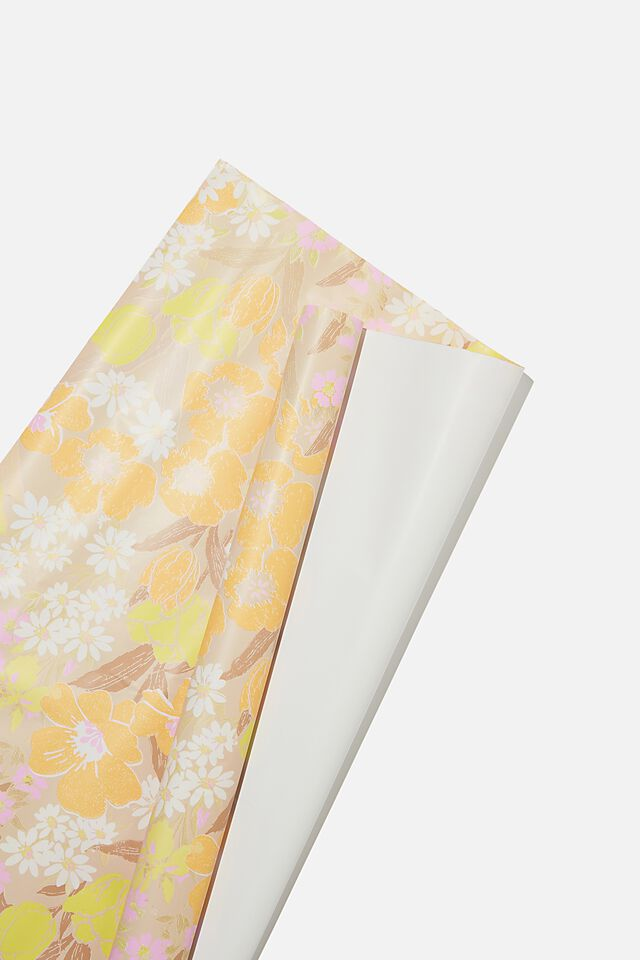 Roll Wrapping Paper, SAND GOLDIE FLORAL