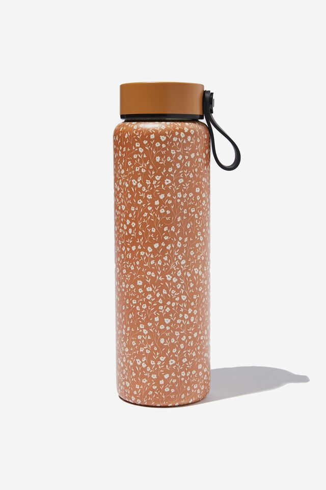 On The Move Metal Drink Bottle 500Ml, MID TAN MEADOW DITSY