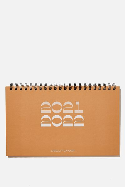2021 22 Wide Desk Calendar, RUST
