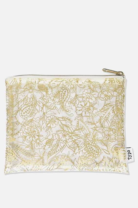 Clear It Pencil Case, GOLD PAISLEY