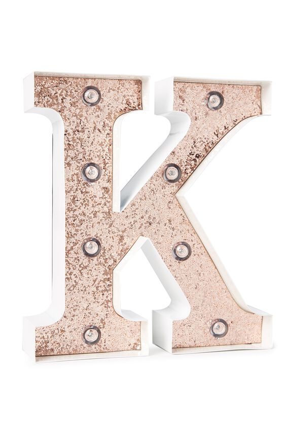 Small Marquee Letter Lights 23cm, WHITE WITH ROSE GOLD GLITTER K