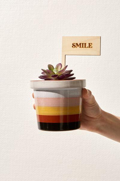 Message Pot Planter, GROW GIRL STRIPE