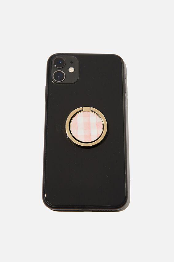 Metal Phone Ring, PINK GINGHAM