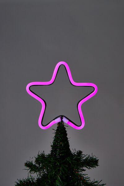 Light Up Christmas Tree Topper, HOT PINK LED STAR