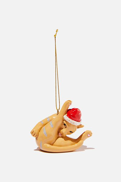 Resin Christmas Ornament, CAT LICKING BALLS!