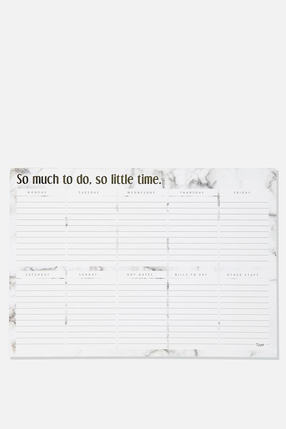 A3 Plan Ahead Planner, WHITE MARBLE SO MUCH TO DO
