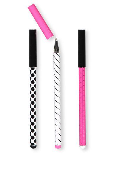 Spinout Pen 3Pk, GREY PINK BLACK