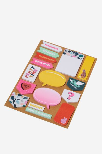 A5 Shaped Sticky Note, MIXED FUN BRIGHTS