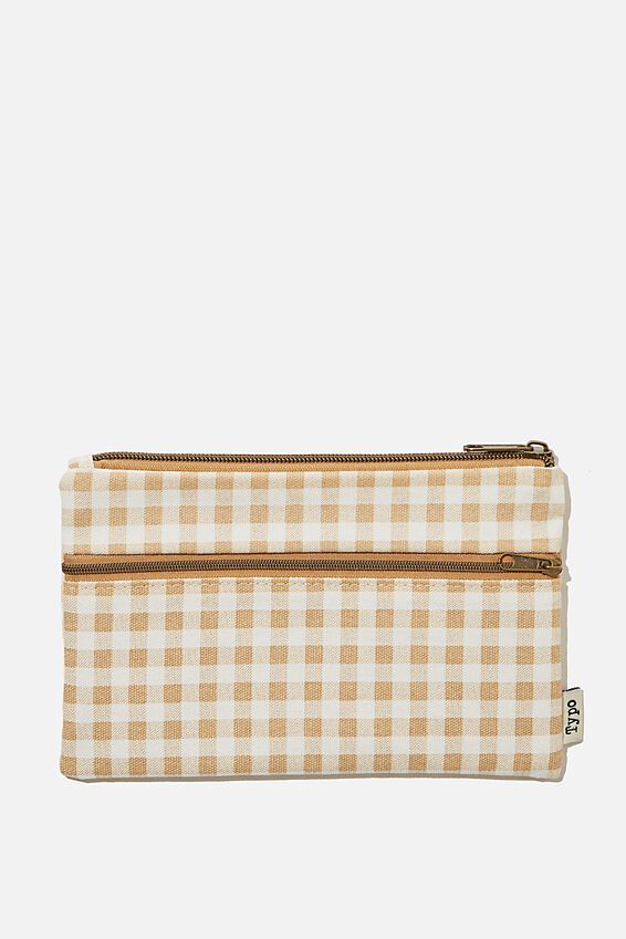 Archer Pencil Case, GINGHAM DRIFTWOOD
