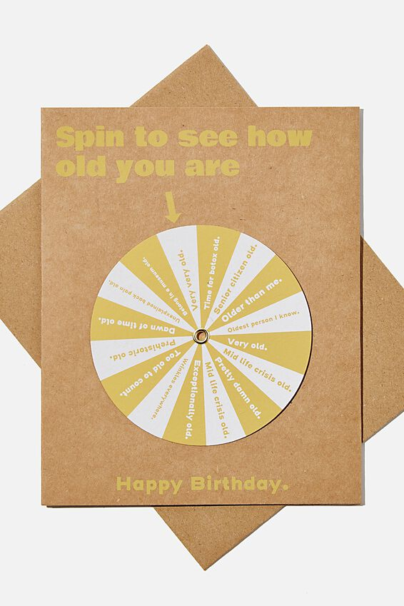 Premium Funny Birthday Card, SPIN TO SEE HOW OLD YOU ARE
