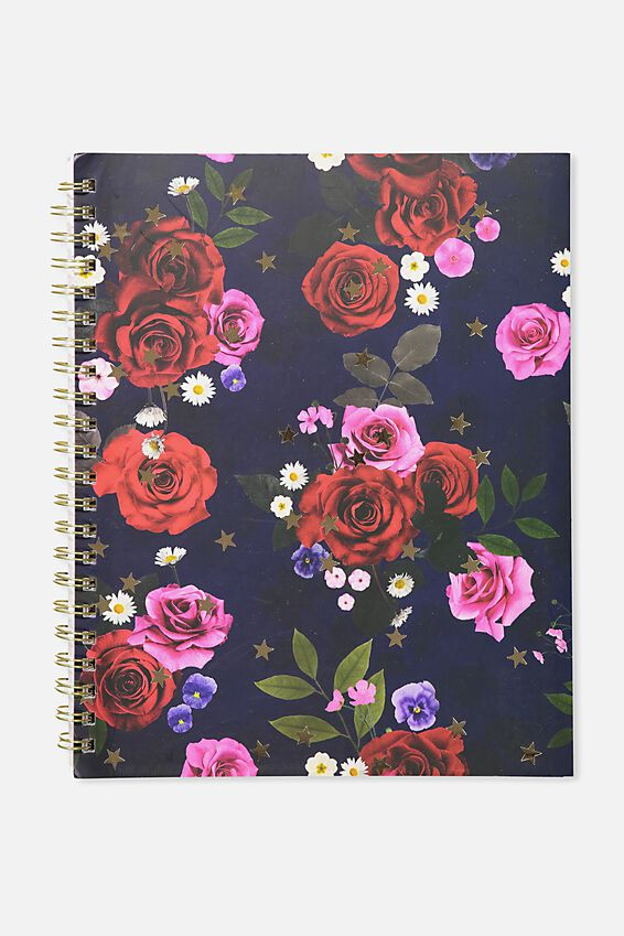 A4 Campus Notebook, NAVY FLORAL