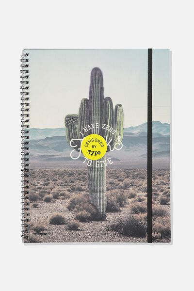 A4 Spinout Notebook - 120 Pages, ZERO F*CKS CACTUS!!