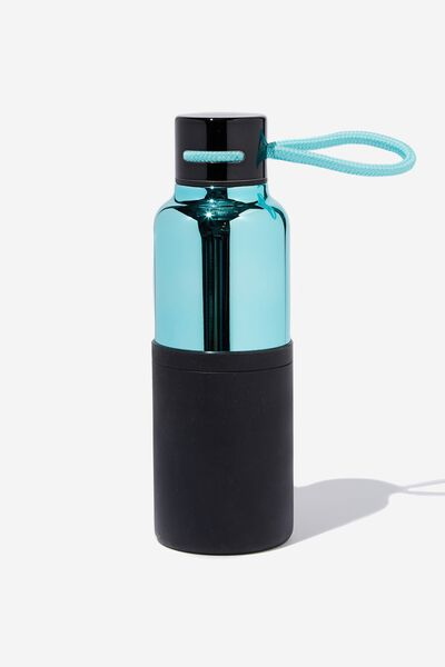 The Loop Metal Drink Bottle, LIGHT BLUE & BLACK