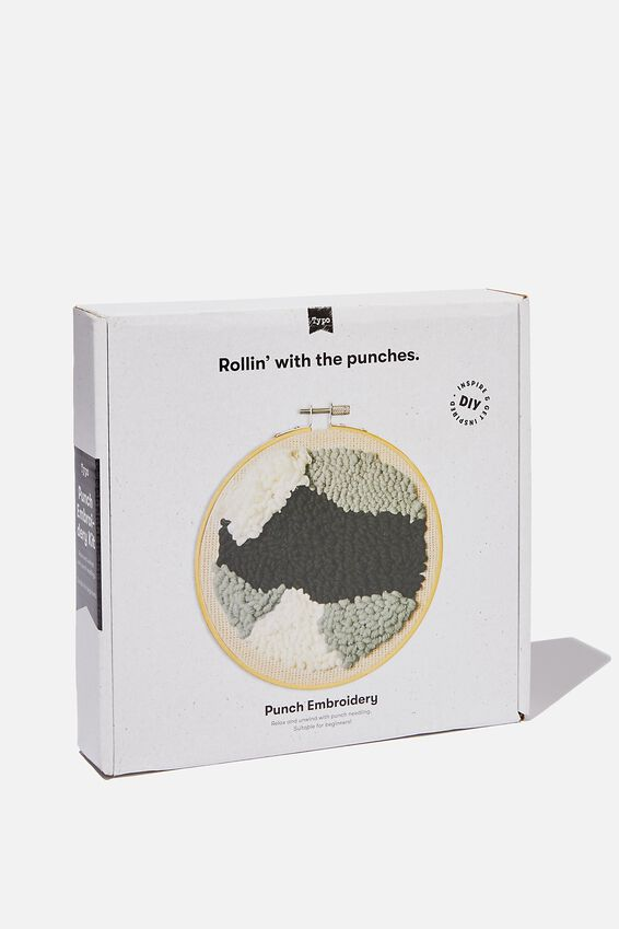 Punch Embroidery Kit, ABSTRACT BLACK WHITE