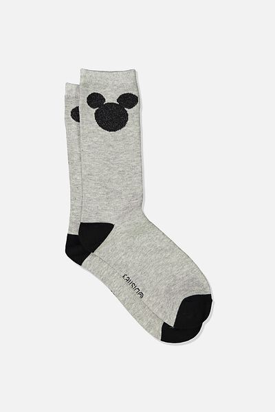 Womens Novelty Socks, LCN DIS MK BLACK MICKEY