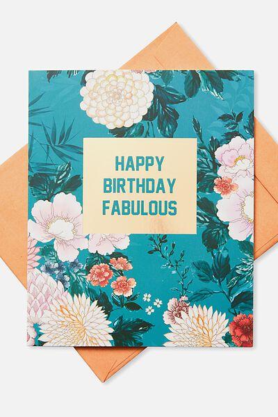 Nice Birthday Card, HAPPY BIRTHDAY FABULOUS