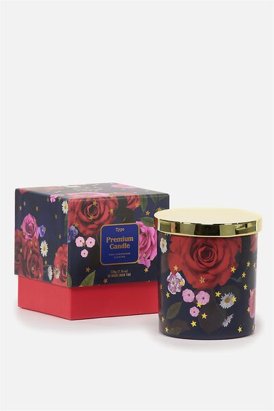 Premium Candle, NAVY FLORAL