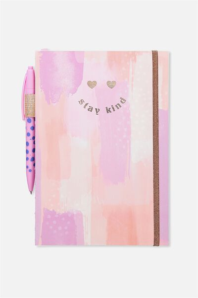 A5 Open Seam Notebook, PEACH PAINTED STAY KIND