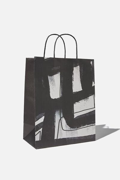 Get Stuffed Gift Bag - Medium, BLACK WHITE STRIPE ARTIST