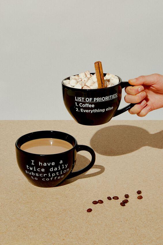 Big Mouth Mug, LIST OF PRIORITIES