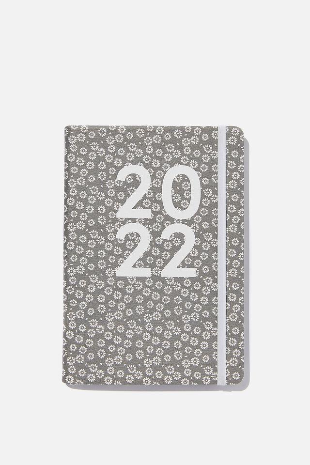 2022 A5 Weekly Buffalo Diary, STAMPED DAISY GREYSCALE