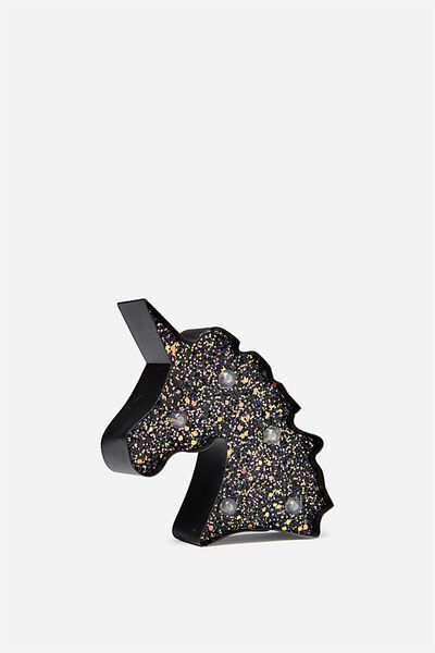 Shaped Mini Marquee Light, CHUNKY BLACK GLITTER UNICORN